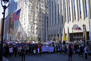 HKonJ protesters march through downtown Raleigh towards the North Carolina State Capitol Building.
