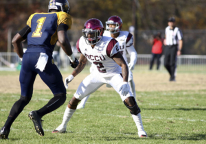 Ryan Smith faces off against a N.C. A&T Bulldog receiver on Nov. 22, 2015. Photo courtesy Dyanne Busse / NCCU Athletics