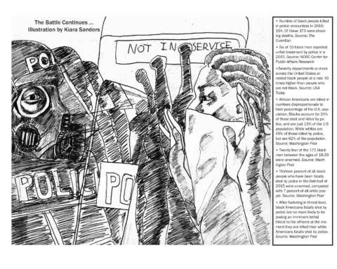 """Kiara Sanders' cartoon """"The Battle Continues..."""" gives facts and figures regarding police brutality weeks after the Charlotte protests and the Keith Scott killing."""