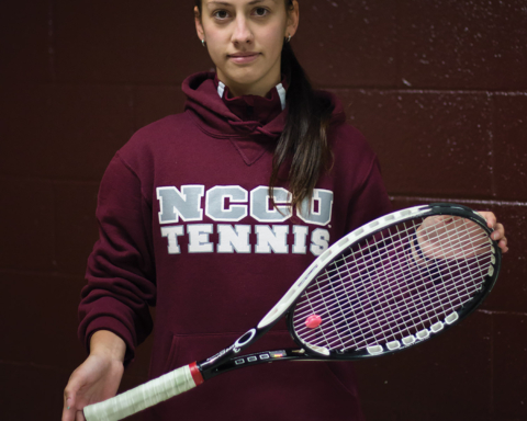 Tamara Jeremic arrived from Belgrade, Serbia,  to play for NCCU's tennis team in fall, 2013.  PHOTO BY BRUCE DEPYSSLER/CAMPUS ECHO ADVISER