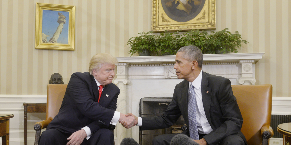 President-elect Donald Trump meets with President Barack Obama at the White House on Thursday, Nov. 10, 2016. Trump will be sworn in on January 20, 2017.(Olivier Douliery/Abaca Press/TNS)