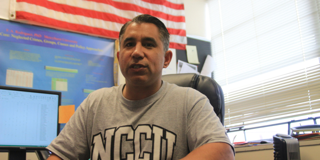 Rodriguez, a third-generation Mexican-American, was a taxi driver, kindergarten teacher, and police officer before coming to NCCU. Photo by Bruce DePyssler/Echo Faculty Advisor